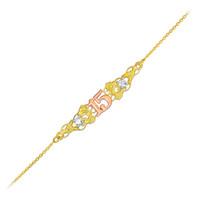 Tri-Color Quincenera 15 Bracelet