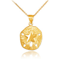 Gold Textured Sand Dollar Pendant Necklace