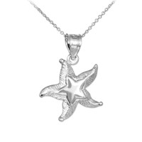 Silver Textured Starfish Pendant Necklace