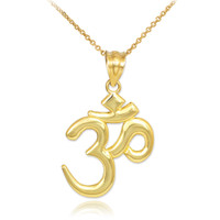 Solid Gold Om/Ohm Pendant Necklace