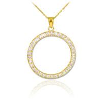 14K Gold Eternity Circle of Life Diamond Pendant Necklace