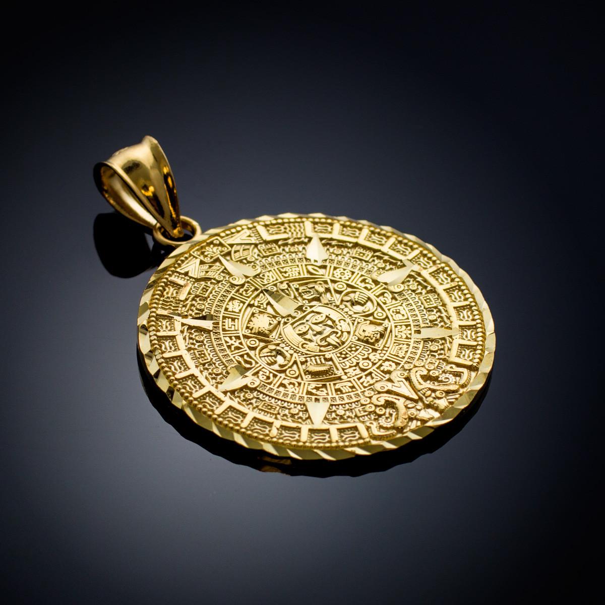 Gold Aztec Mayan Mexico Sun Calendar Pendant 3 Sizes Small Medium Large Ebay