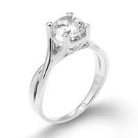 Silver Infinity Band CZ Solitaire Engagement Ring