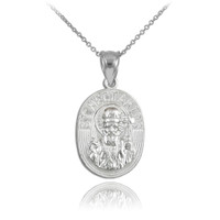Sterling Silver Saint Nectarios Medallion Charm Pendant Necklace
