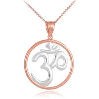 Two-Tone Rose Gold Om (Ohm) Medallion Pendant Necklace