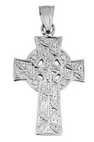 White Gold Celtic Cross Irish Pendant