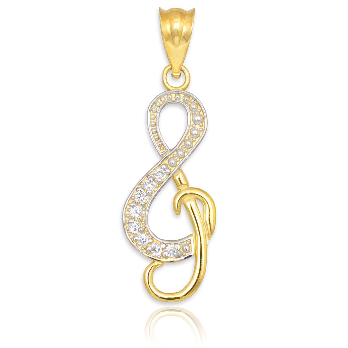 studded gold treble clef charm pendant
