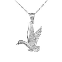 Sterling Silver Flying Duck Pendant Necklace