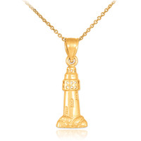 Polished Gold Lighthouse Charm Pendant Necklace