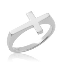 Solid White Gold Flat Top Sideways Cross Ring