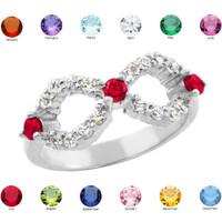 Sterling Silver Infinity Birthstone CZ Ring