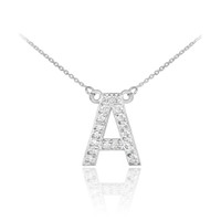 """14k White Gold Letter """"A"""" Diamond Initial Monogram Necklace"""