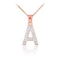 "Rose Gold Letter ""A"" Initial Diamond Monogram Pendant Necklace"