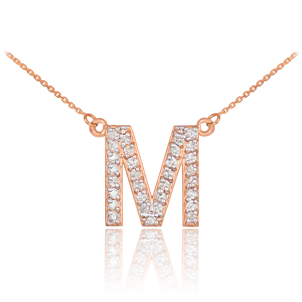 "14k Rose Gold Letter ""M"" Initial Diamond Monogram Necklace"