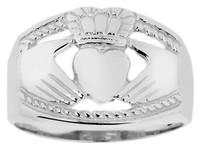Silver Claddagh Ring Mens Bold