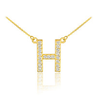 """14k Gold Letter """"H"""" Diamond Initial Necklace"""