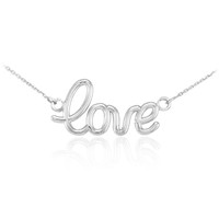 "925 Sterling Silver ""Love"" Script Necklace"