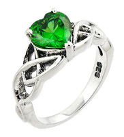 925 Sterling Silver Celtic Knot Green Emerald Solitaire Ring