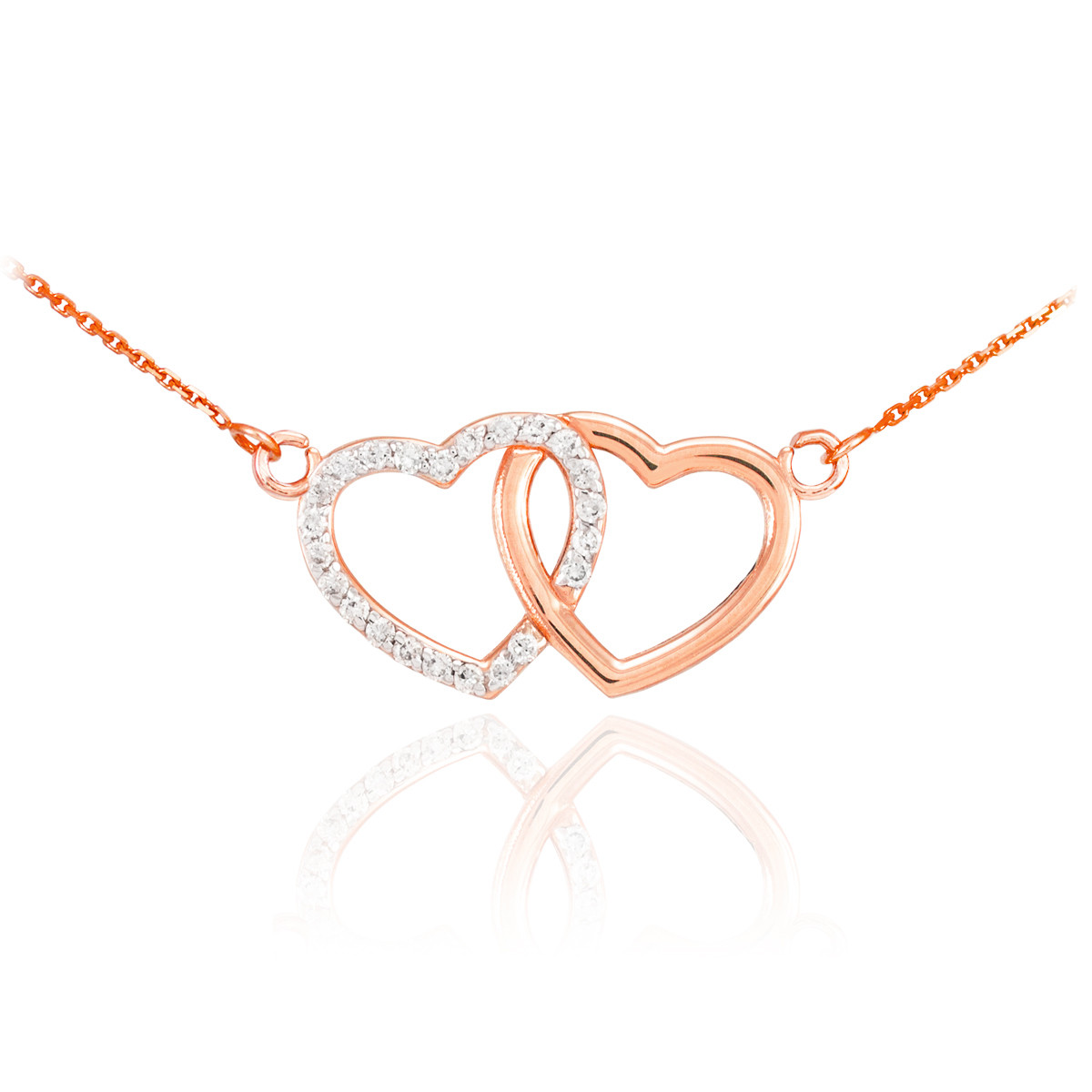 2a742385f8144f 14K Rose Gold Double Heart Pendant Sideways Necklace with 23 round Diamonds