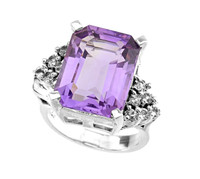 Silver Amethyst and White Topaz Ladies Ring