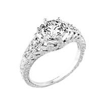 14k Gold Round CZ Engagement Ring