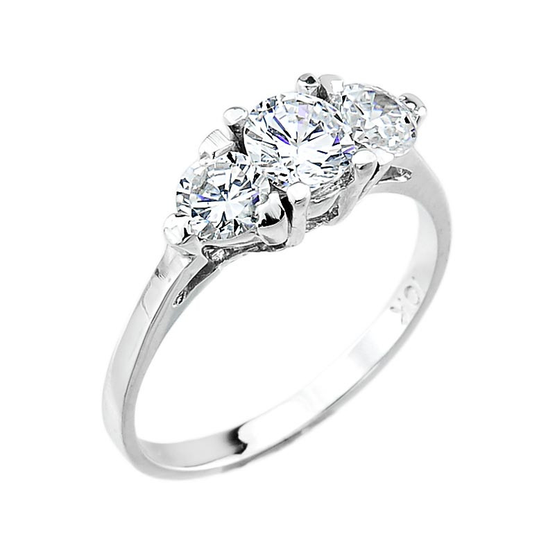10k White Gold Three Stone Clear Cubic Zirconia 2 0ct Engagement Wedding Ring Ebay