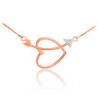 14K Rose Gold Heart & Arrow Diamond Necklace