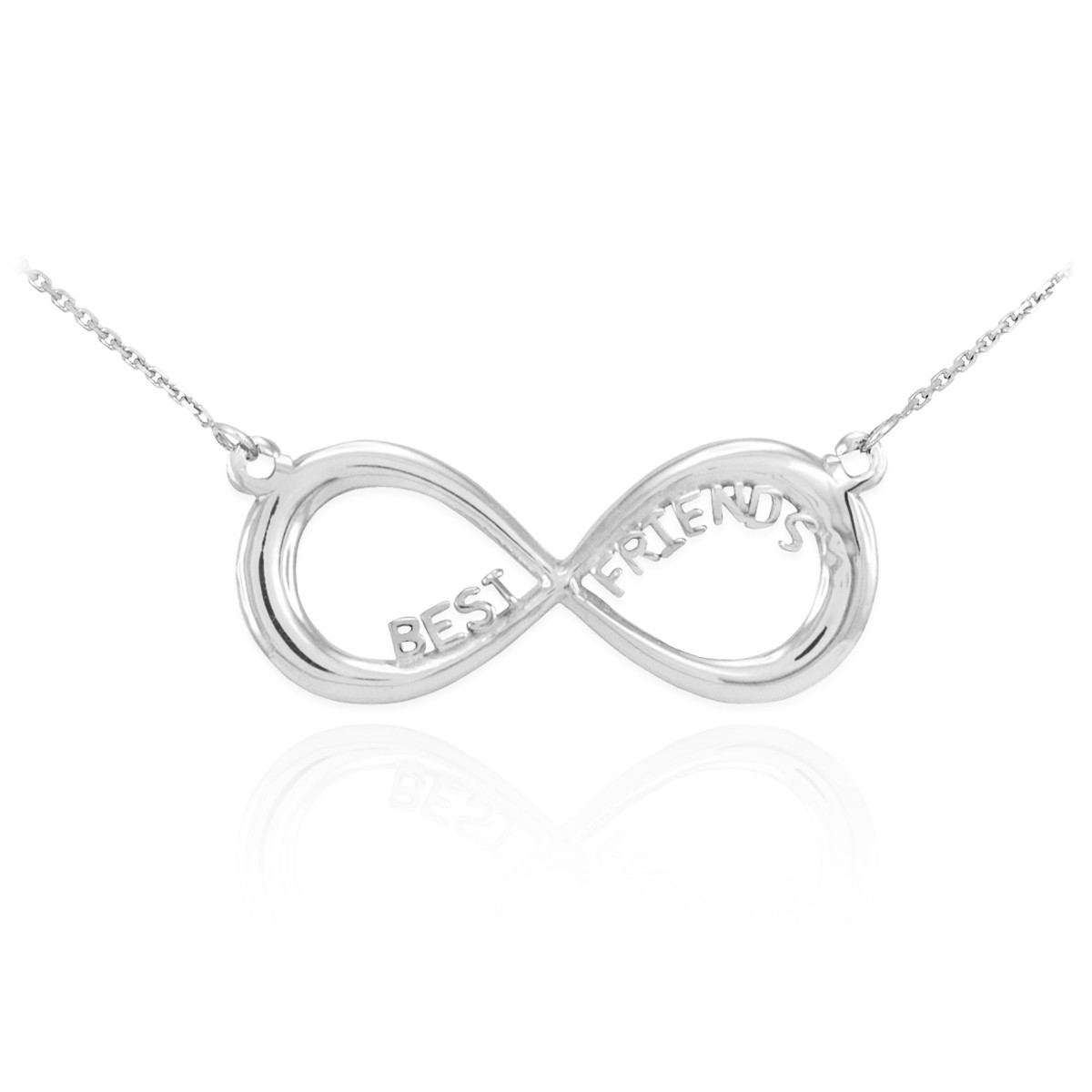 Gift for Friends 14K White Gold Infinity Necklace with BEST FRIENDS Message