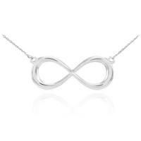 14K White Gold Infinity Dainty Necklace