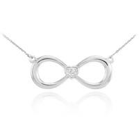 14K White Gold Infinity Diamond Heart Necklace