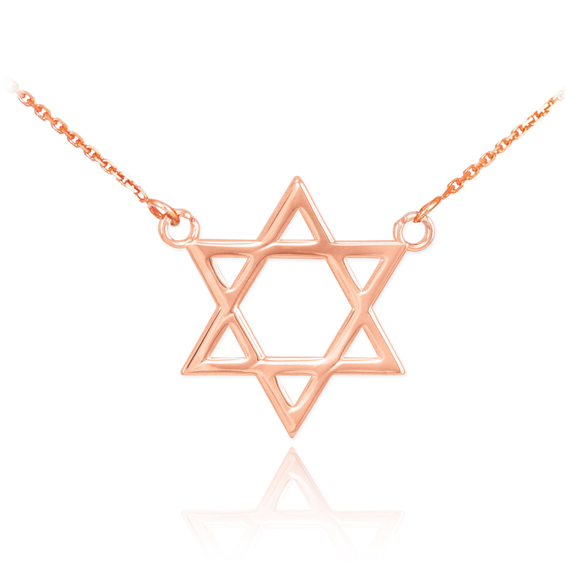 14K Rose Gold Classic Star of David Pendant Jewish Charm Double Mounted Necklace