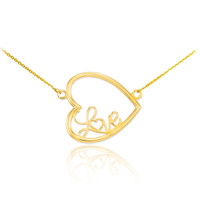 "14K Gold Sideways Open Heart ""Love"" Script Necklace"