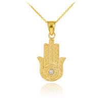 Gold Hamsa Diamond Pendant Necklace