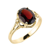 Yellow Gold Ladies Genuine Garnet Gemstone Ring