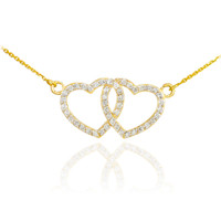 14K Gold Diamond Studded Double Heart Necklace 0.50ct