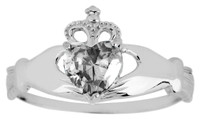 Silver Claddagh ring with Clear Cubic Zirconia birthstone.