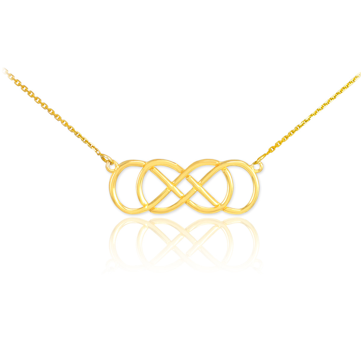 Ladies 14K Rose Gold Double Knot Infinity Forever Love Necklace Valentine/'s Gift