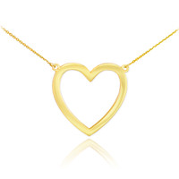 14K Polished Gold Open Heart Necklace