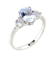 White Gold Aquamarine Gemstone Ring