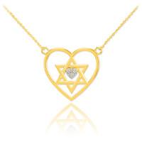 14K Gold Open Heart Star of David Diamond Pave Heart Necklace
