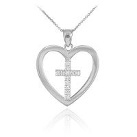 White Gold Open Heart Diamond Cross Pendant Necklace