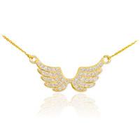 14K Diamond Pave Studded Gold Wings Necklace (0.50ctw)