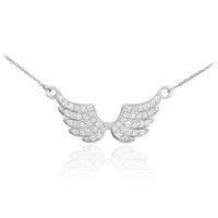 14K White Gold Diamond Studded Angel Wings Necklace (0.50ctw)