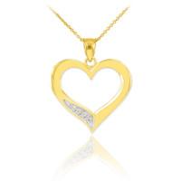 Gold Open Heart Diamond Pendant Necklace