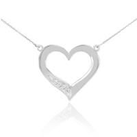 14K White Gold Open Heart Diamond Necklace