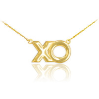 "14K Polished Gold ""XO"" Hugs & Kisses Necklace"
