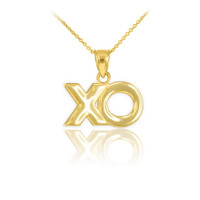 "Polished Gold ""XO"" Hugs & Kisses Pendant Necklace"