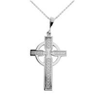 White Gold Textured Charm Celtic Cross Pendant Necklace