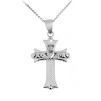 Claddagh Cross Silver Pendant Necklace