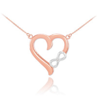 14K Two-Tone Rose Gold Infinity Heart Diamond Necklace